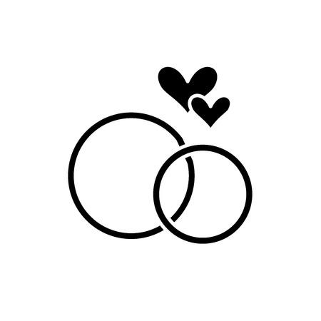 Trouwringen zwart pictogram, concept vector teken op geïsoleerde achtergrond. Trouwringen illustratie, symbool