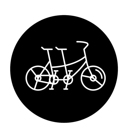 Double bike black icon, concept vector sign on isolated background. Double bike illustration, symbol