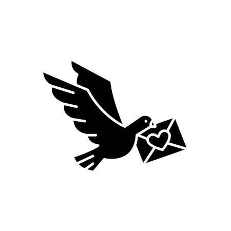 Dove with a letter black icon, concept vector sign on isolated background. Dove with a letter illustration, symbol Ilustracja
