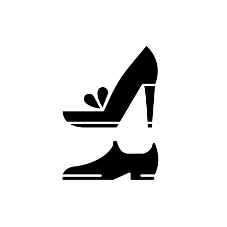 Wedding shoes black icon, concept vector sign on isolated background. Wedding shoes illustration, symbol Иллюстрация