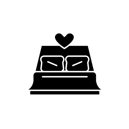 Bed newlyweds black icon, concept vector sign on isolated background. Bed newlyweds illustration, symbol