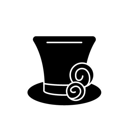 Cylinder hat black icon, concept vector sign on isolated background. Cylinder hat illustration, symbol