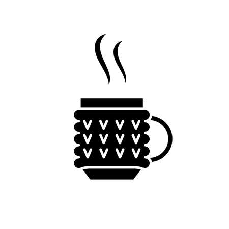Thermo mug black icon, concept vector sign on isolated background. Thermo mug illustration, symbol Stock Vector - 113530463
