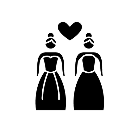 Lesbian marriage black icon, concept vector sign on isolated background. Lesbian marriage illustration, symbol