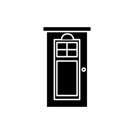 Interroom door black icon, concept vector sign on isolated background. Interroom door illustration, symbol