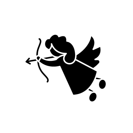 Cupid black icon, concept vector sign on isolated background. Cupid illustration, symbol