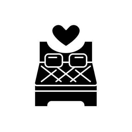 Bed for lovers black icon, concept vector sign on isolated background. Bed for lovers illustration, symbol