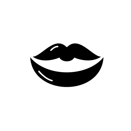 Lips black icon, concept vector sign on isolated background. Lips illustration, symbol