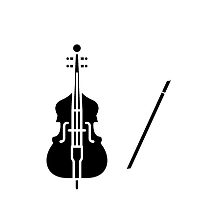 Violin play black icon, concept vector sign on isolated background. Violin play illustration, symbol