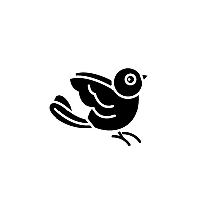 Bullfinch black icon, concept vector sign on isolated background. Bullfinch illustration, symbol