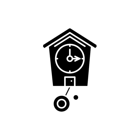 Cuckoo-clock black icon, concept vector sign on isolated background. Cuckoo-clock illustration, symbol