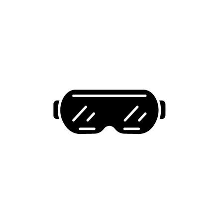 Ski goggles black icon, concept vector sign on isolated background. Ski goggles illustration, symbol