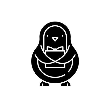 Penguin black icon, concept vector sign on isolated background. Penguin illustration, symbol Illusztráció