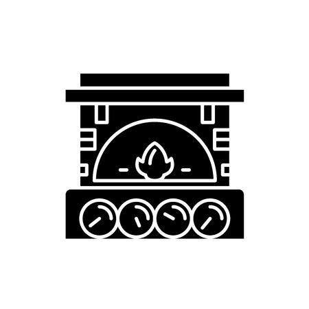 Fireplace brick black icon, concept vector sign on isolated background. Fireplace brick illustration, symbol