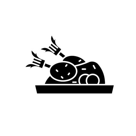 Icône noire de dinde de Noël, signe de vecteur de concept sur fond isolé. Illustration de la dinde de Noël, symbole
