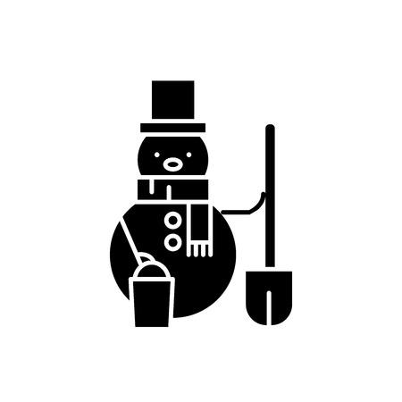 Snowman black icon, concept vector sign on isolated background. Snowman illustration, symbol Ilustracja
