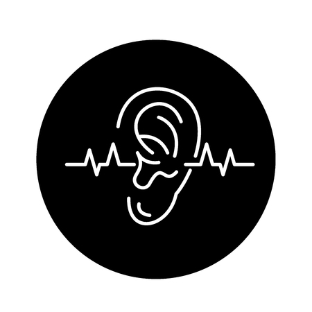 Hearing test black icon, concept vector sign on isolated background. Hearing test illustration, symbol