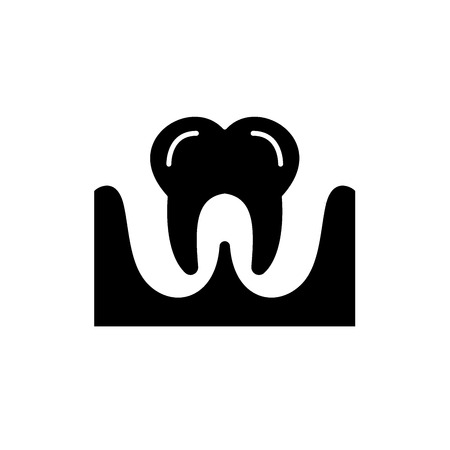 Tooth black icon, concept vector sign on isolated background. Tooth illustration, symbol