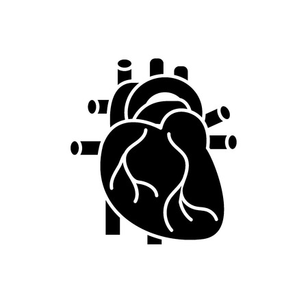 Human heart black icon, concept vector sign on isolated background. Human heart illustration, symbol Illustration