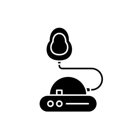 Inhalation black icon, concept vector sign on isolated background. Inhalation illustration, symbol