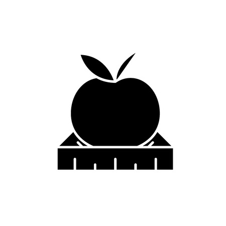 Apple with a ruler black icon, concept vector sign on isolated background. Apple with a ruler illustration, symbol Illustration