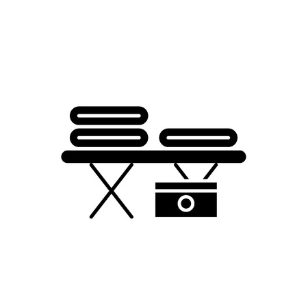 Massage table black icon, concept vector sign on isolated background. Massage table illustration, symbol