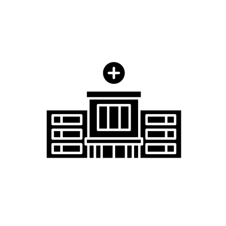 Hospital black icon, concept vector sign on isolated background. Hospital illustration, symbol