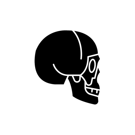 Skull side view black icon, concept vector sign on isolated background. Skull side view illustration, symbol Illustration