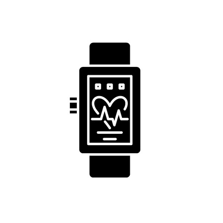 Smart watches black icon, concept vector sign on isolated background. Smart watches illustration, symbol