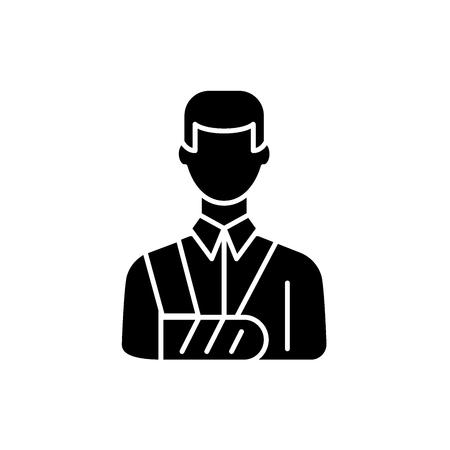 Bandaged man black icon, concept vector sign on isolated background. Bandaged man illustration, symbol
