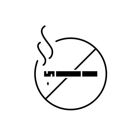 Do not smoke black icon, concept vector sign on isolated background. Do not smoke illustration, symbol