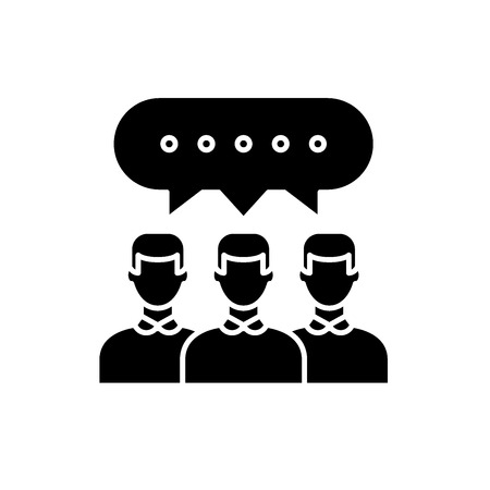 Group discussion black icon, concept vector sign on isolated background. Group discussion illustration, symbol