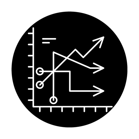 Business trends black icon, concept vector sign on isolated background. Business trends illustration, symbol