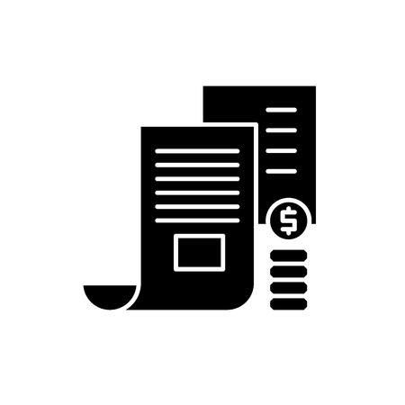 Investeerder memorandum zwart pictogram, concept vector teken op geïsoleerde achtergrond. Beleggersmemorandum illustratie, symbool