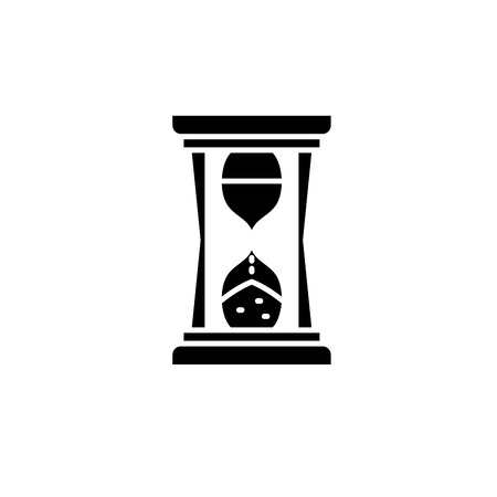 Hourglass time black icon, concept vector sign on isolated background. Hourglass time illustration, symbol
