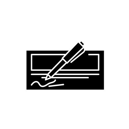 Bank check black icon, concept vector sign on isolated background. Bank check illustration, symbol Stock Illustratie