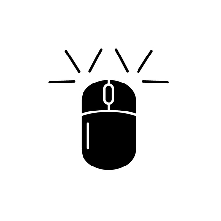 Computer mouse black icon, concept vector sign on isolated background. Computer mouse illustration, symbol Illustration