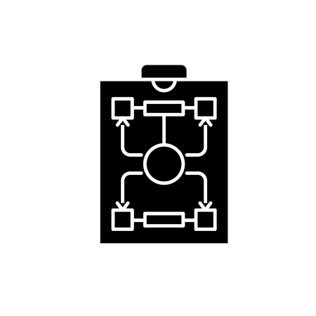 Organizational structure black icon, concept vector sign on isolated background. Organizational structure illustration, symbol