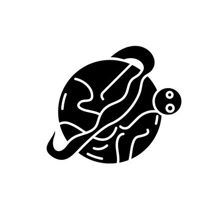 Optimal logistics black icon, concept vector sign on isolated background. Optimal logistics illustration, symbol Banque d'images - 113530650