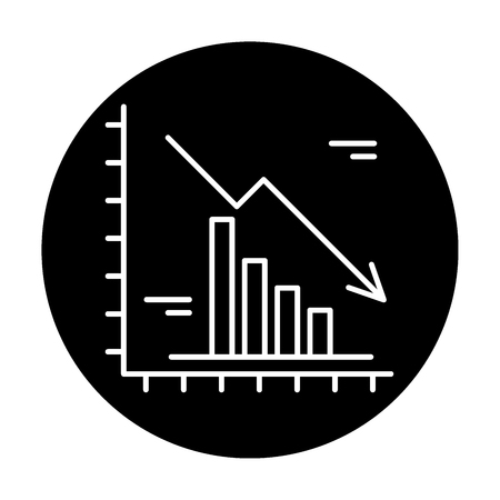 Falling markets black icon, concept vector sign on isolated background. Falling markets illustration, symbol