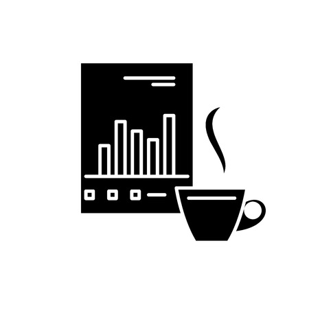 Analytical management black icon, concept vector sign on isolated background. Analytical management illustration, symbol