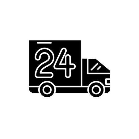 Icône noire de livraison de 24 heures, signe de vecteur de concept sur le fond d'isolement. Illustration de livraison 24 heures, symbole
