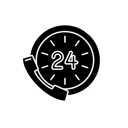24 hour communication black icon, concept vector sign on isolated background. 24 hour communication illustration, symbol Illustration