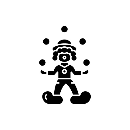 Clown juggler black icon, concept vector sign on isolated background. Clown juggler illustration, symbol Stock Illustratie