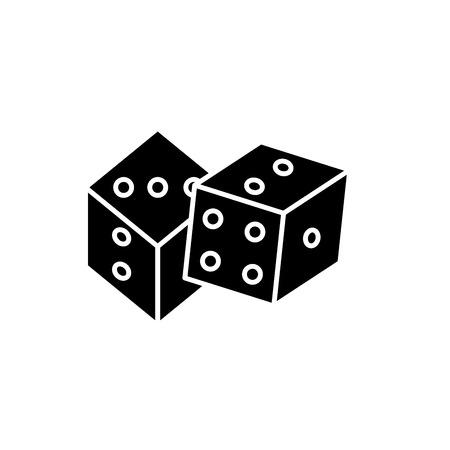 Juego de dados icono negro, signo de vector de concepto sobre fondo aislado. Ilustración de juego de dados, símbolo Ilustración de vector