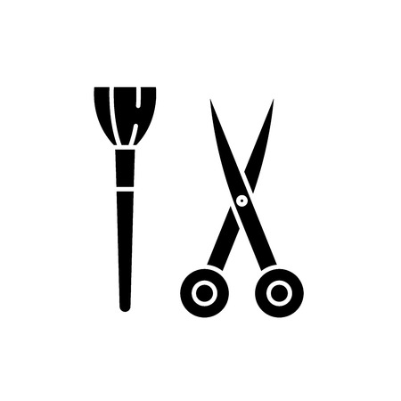 Scissors and visagiste brush black icon, concept vector sign on isolated background. Scissors and visagiste brush illustration, symbol