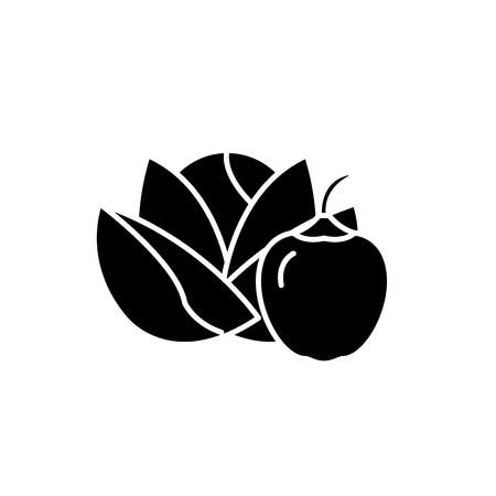 Vegetables and fruits black icon, concept vector sign on isolated background. Vegetables and fruits illustration, symbol Ilustração