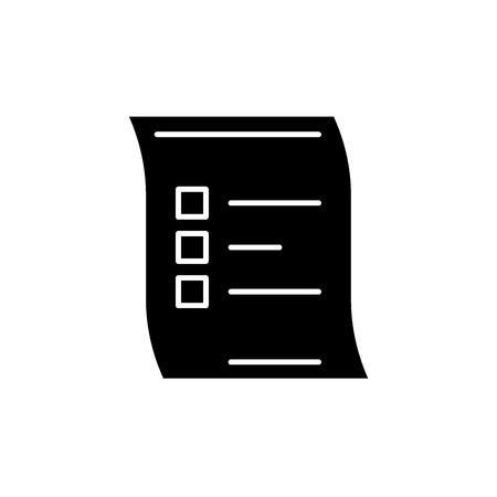 Survey black icon, concept vector sign on isolated background. Survey illustration, symbol Illusztráció