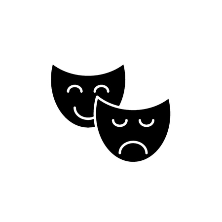 Comedy and tragedy black icon, concept vector sign on isolated background. Comedy and tragedy illustration, symbol