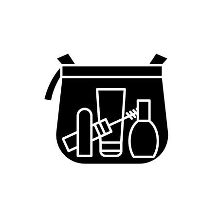 Makeup bag black icon, concept vector sign on isolated background. Makeup bag illustration, symbol